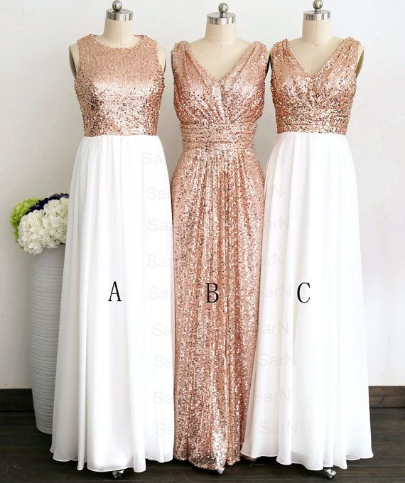 Rose Gold Sequin White Chiffon Bridesmaid Dresses db795aa3f