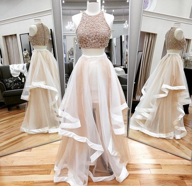 55dda59d5e7a Two Pieces Champagne Prom Dresses