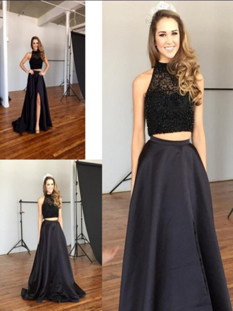 Two Pieces Black Prom DressesHigh Neck Beaded Long Dresses2 Front Split Evening DressWedding Party Gown For Sweet 16 DressesGraduation
