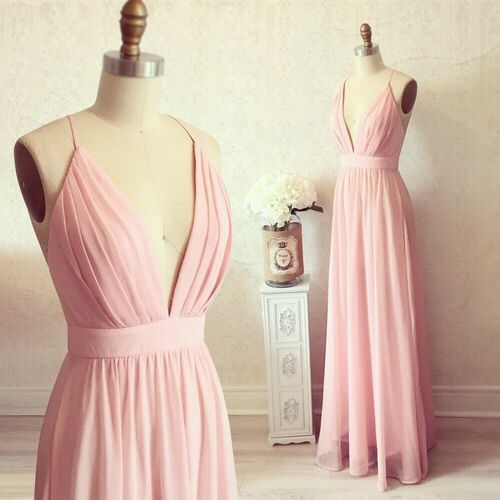 pale pink bridesmaid dress with spaghetti straps