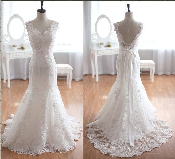 White Lace Mermaid Wedding Dresses,High Quality Off the Shoulder Wedding Dress, V Back Bridal Wedding Gowns,Custom Made Beaded Belt Wedding Gown