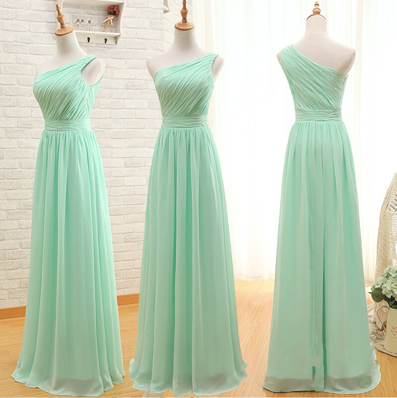 One Shoulder Mint Bridesmaid Dresses Empire Waist Long Ruffles Custom Made Dress Simple Prom