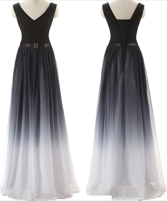 Navy Blue Ombre Prom Dresses,Gradient Chiffon Long Prom Dress,Off ...