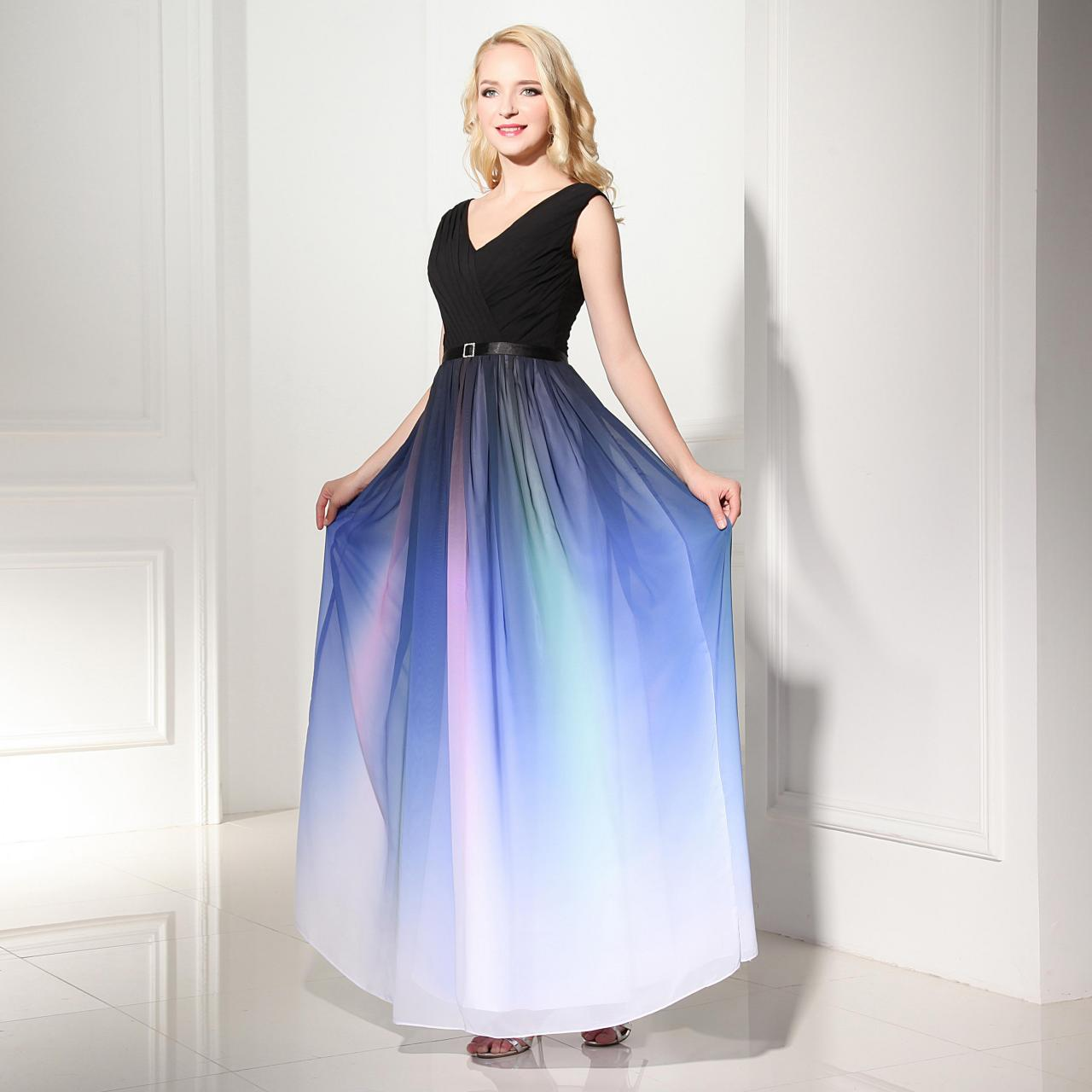 Ombre Wedding Gown: Off The Shoulder Colorized Gradient Chiffon Prom Dresses