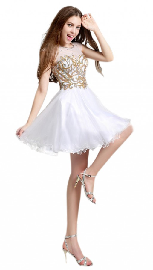 cded8db4fca Gold Rhinestones White Skirt Homecoming Dresses
