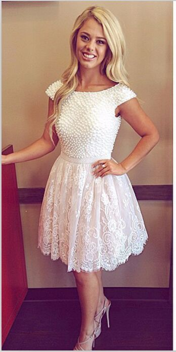 18b5103c347 White Lace Backless Homecoming Dresses