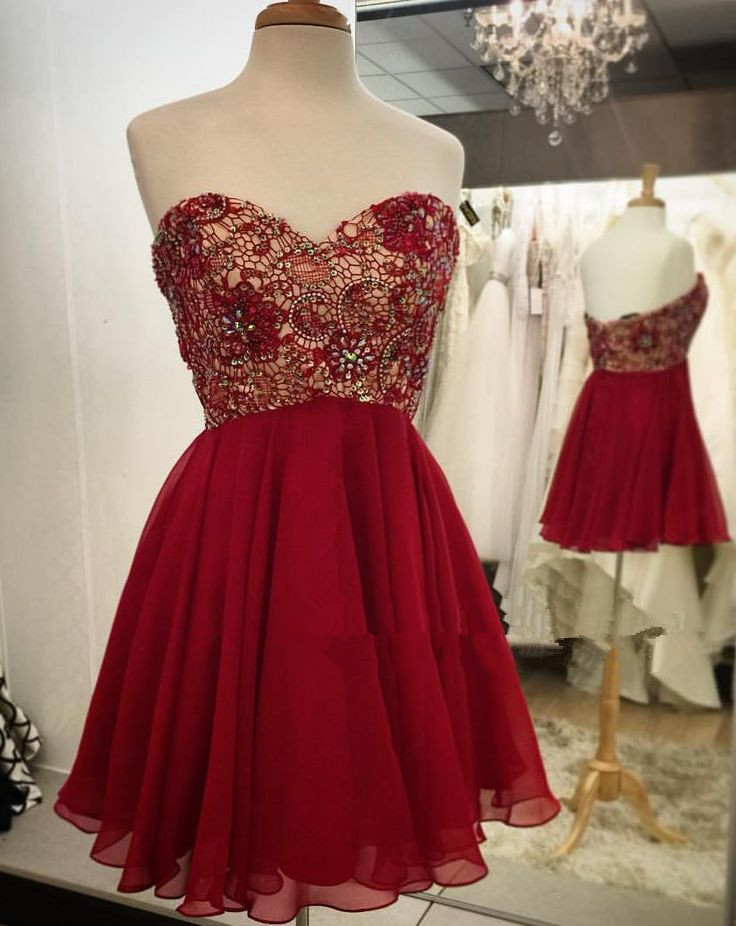 c9430787d2b Empire Waist Red Lace Short Prom Dress Homecoming Dresses