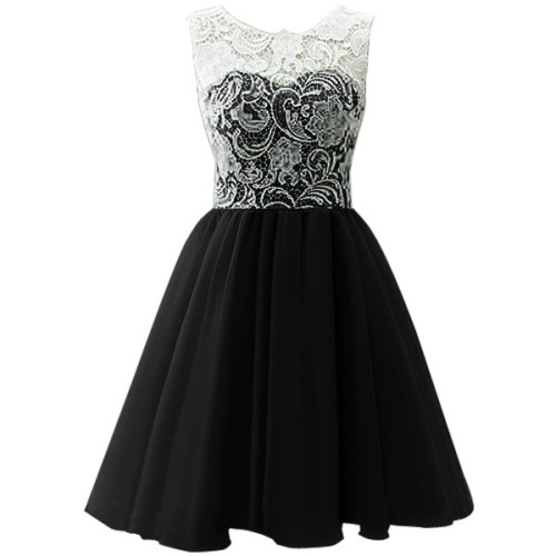 White Lace Black Chiffon Short Homecoming Dresses Charming High