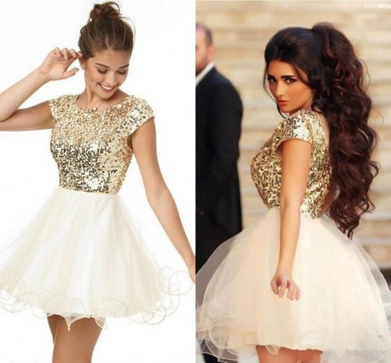 2ed90c4a4f Champagne Sequin Homecoming Dresses