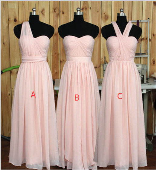 Simple Pink Chiffon Bridesmaid Dresses, Long Bridesmaid Dress,Custom Made Cheap Bridesmaid Gowns,Elegant Prom Dresses,Wedding Party Dresses,Graduation Dresses,Prom Gowns