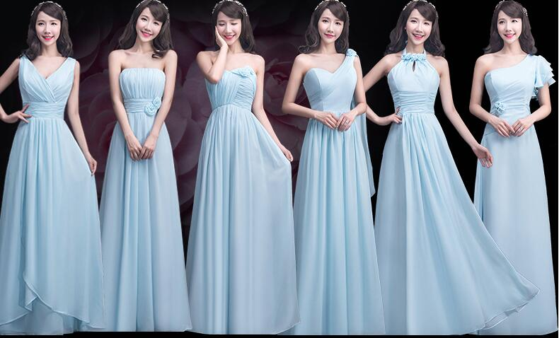 Elegant Sky Blue Chiffon Bridesmaid Dresses Custom Made Ruffles Long Dress Mismatch Maid Of