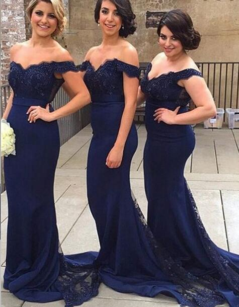 Drop Sleeves Navy Blue Lace Mermaid Bridesmaid
