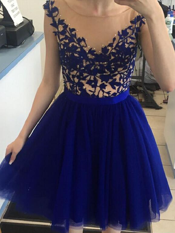 Royal Blue Lace Champagne Tulle Homecoming Dresses Prom Dress,High Neck Cap Sleeves Homecoming Dress Ball Gowns,Graduation Dresses,Cheap Short Prom Dress ,Formal Women Dress
