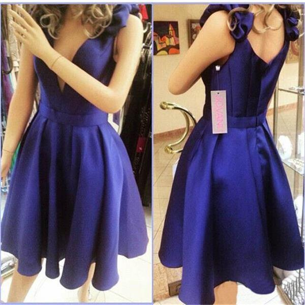 faea107be649 Deep V Neck Blue Homecoming Dresses ,Off the Shoulder Satin Short  Homecoming Dress Prom Dresses