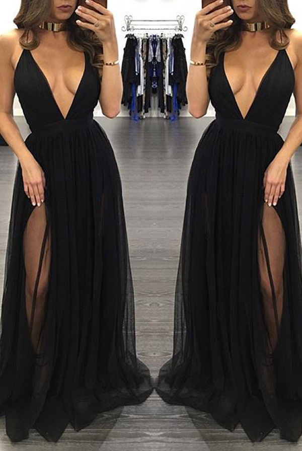 2635dff7be Sexy Deep V Neck Prom Dresses,A Line Spaghetti Straps Front Split Prom Dress,Cheap  Black Chiffon Evening Prom Dresses,Elegant Prom Gowns,Long Evening Gowns