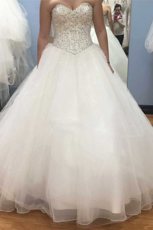 Princess Ball Gown Wedding Dress,Sweetheart Heavy Beads Crystal ...