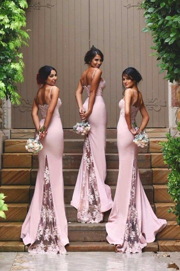 Pink Sweetheart Neckline Spaghetti Strap Lace Bridesmaid Dress with Lace Sweep Train