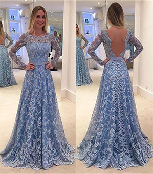 Lace Prom Dresses, Long Sleeves Prom Dresses, Blue Prom Dress, Long Evening Dresses, Lace Formal Dresses, Prom Dress