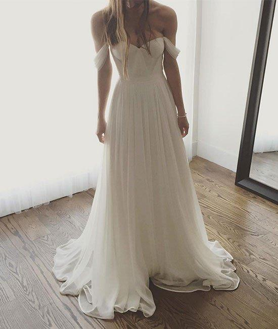 Ivory Wedding Dresses, Chiffon Wedding Dress, Long Prom Dress, Off The  Shoulder Wedding Gown, Simple Wedding Dresses,Long Formal Gown,Wedding Dress  WD003