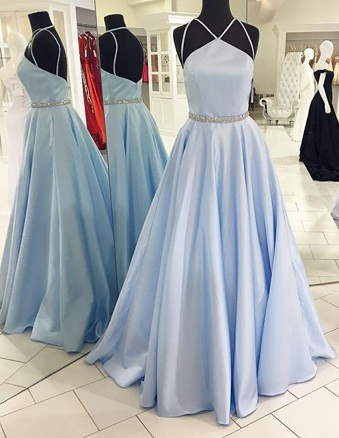 Backless Beading Prom Dress,Spaghetti Straps Prom Dresses,A Line Prom Dress,Light Blue Evening Dress,Long Evening Gowns,Prom Dress