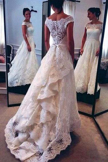2017 Vintage Wedding Dress,Lace Wedding Dress,White Wedding Dresses,Off the Shoulder Wedding Dresses,Layers A-line Bridal Gowns,Ivory Wedding Dresses,Wedding Dress
