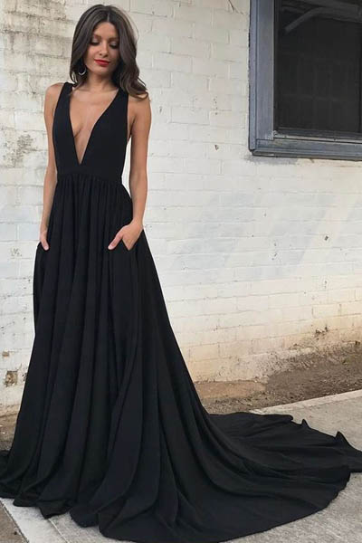 prom dresses 2017, long prom party dresses, elegant prom dress,deep v-neck evening dresses, backless prom dresses, black prom dresses,simple prom gown,prom dress