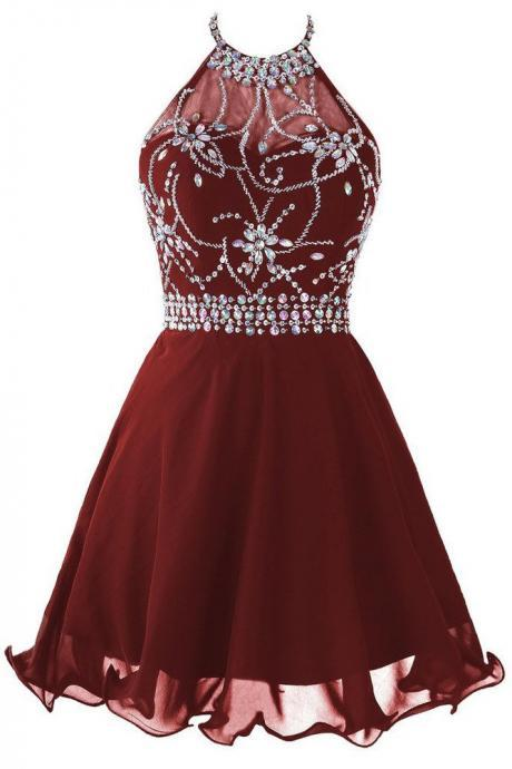 Cute Homecoming Dresses,Burgundy Homecoming Dresses,Beading Homecoming Dress,Chiffon Homecoming Dresses,Halter Homecoming Dresses,Short Homecoming Dress