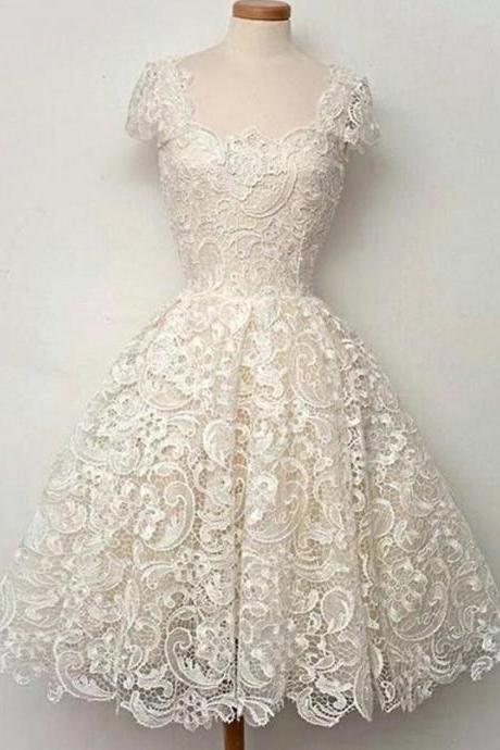 Vintage Homecoming Dresses,A-line Homecoming Dresses,Cap Sleeves Homecoming Dresses,Lace Homecoming Dress,Ivory Homecoming Dresses,Short Homecoming Dress