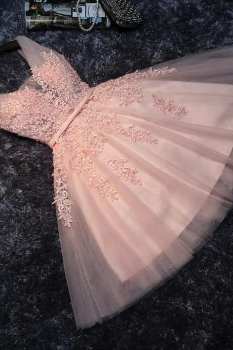 Princess Homecoming Dresses, Lace Homecoming Dress With Appliques, Tulle Homecoming Dress,Blush Pink Homecoming Dresses,Short Bridesmaid Dresses,Short Homecoming Dress