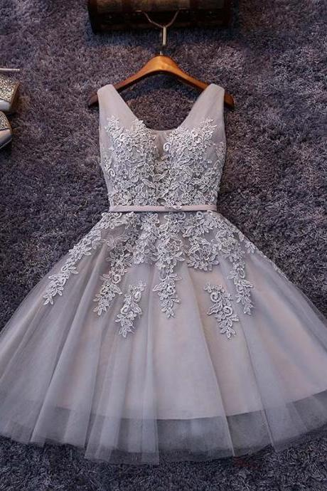 Gray Homecoming Dresses,Tulle Homecoming Dresses,Appliqued Homecoming Dresses,Short Homecoming Dress,Lace Homecoming Dresses,Sweetheart Homecoming Dresses