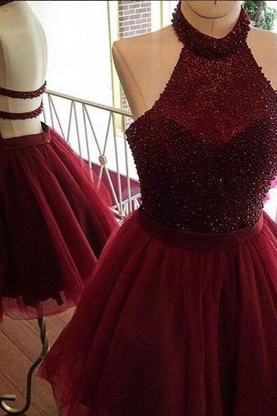 Burgundy homecoming dress,a line homecoming dress,halter party dress,beading homecoming dresses,short prom dress,women homecoming dresses,short homecoming dress,homecoming dress