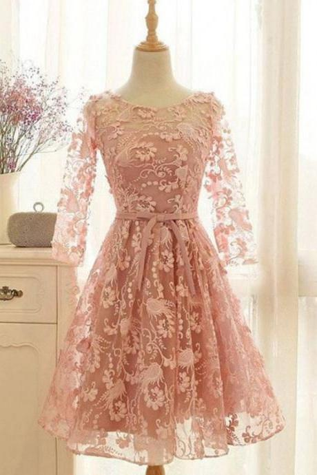 unique homecoming dresses,lace homecoming dresses,short homecoming dresses,short prom dresses,pink homecoming dress,long sleeves homecoming dresses,short homecoming dresses,homecoming dress