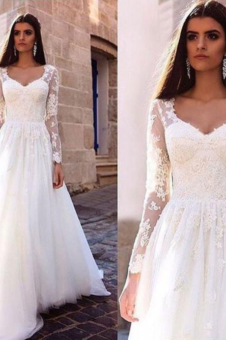 A-line Wedding Dress,Ivory Wedding Dresses,Lace Wedding Dresses,Long Sleeves Wedding Dresses,Long Wedding Dress,Modest Wedding Dresses,Wedding Dress