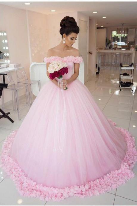 Ball Gown Wedding Dress,Off shoulder Wedding Dresses,Pink Wedding Dresses,Tulle Wedding Dresses,Pink Quinceanera Dresses,Princess Wedding Dresses,Wedding Dress PD055