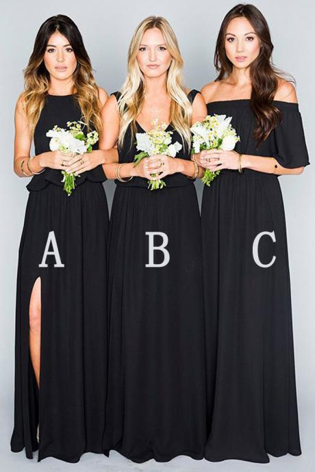 Black Bridesmaid Dresses,Chiffon Bridesmaid Dress,Mismatched Bridesmaid Dresses,Eleagnt Bridesmaid Dress,Long Bridesmaid Dresses,Beautiful Bridesmaid Dress,Bridesmaid Dress