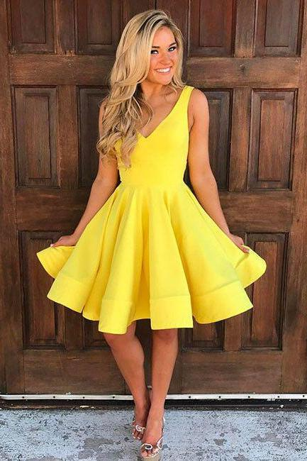 Cute Homecoming Dress,V Neck Homecoming Dress,Yellow Homecoming Dresses,Sleeveless Homecoming Dress,Short Prom Dresses,A Line Party Dresses,Homecoming Dress HD008