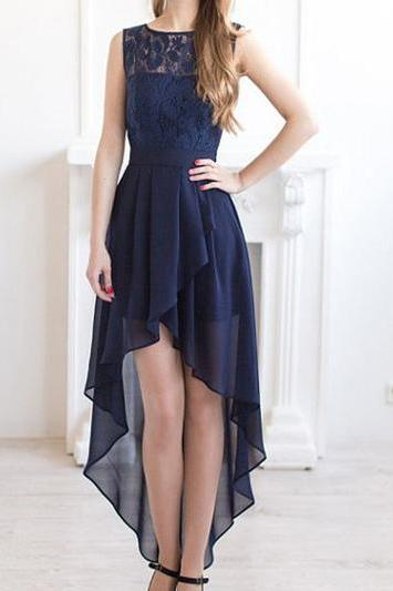 Long bridesmaid dress,high low bridesmaid dresses, navy blue bridesmaid dresses, 2017 Bridesmaid Dresses,chiffon Bridesmaid Dress,lace Bridesmaid Dresses,Bridesmaid Dress