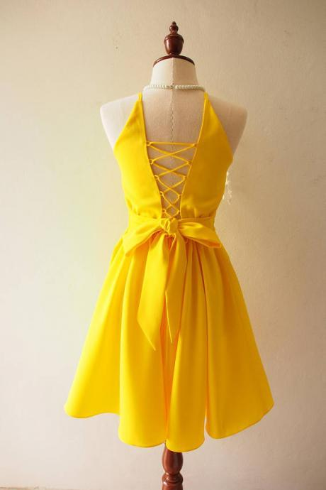 Cute Homecoming Dress,Round Neck Homecoming Dress,Short Prom Dresses,Yellow Homecoming Dresses,Cute Homecoming Gown,A LIne Homecoming Dresses,Homecoming Dress