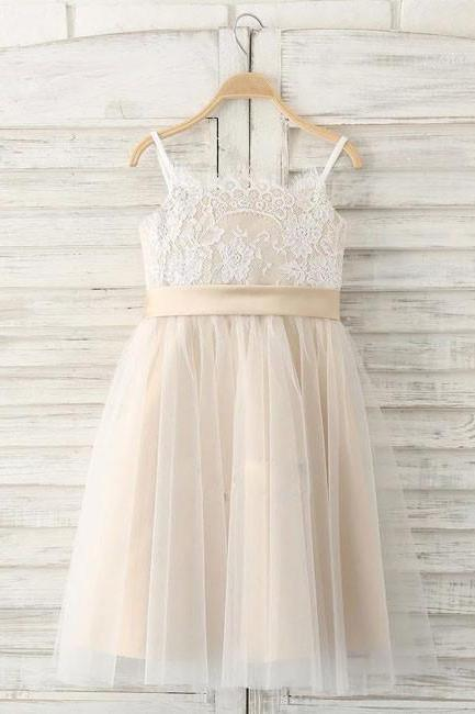 Straps Flower Girl Dresses,Long Flower Girl Dress with Ribbon,Tulle Flower Girl Dress,Lace Flower Girl Dresses,girls first communion dress, junior bridesmaid dresses