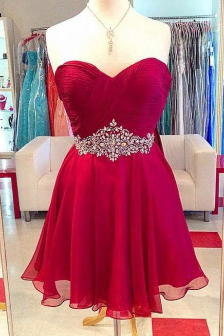 Red Homocoming Dress,Sweetheart Homocoming Dresses,Chiffon Homocoming Dresses,Short Homocoming Dresses,Beading Homocoming Dresses,Red Cocktail Dresses,Girls Party Dress