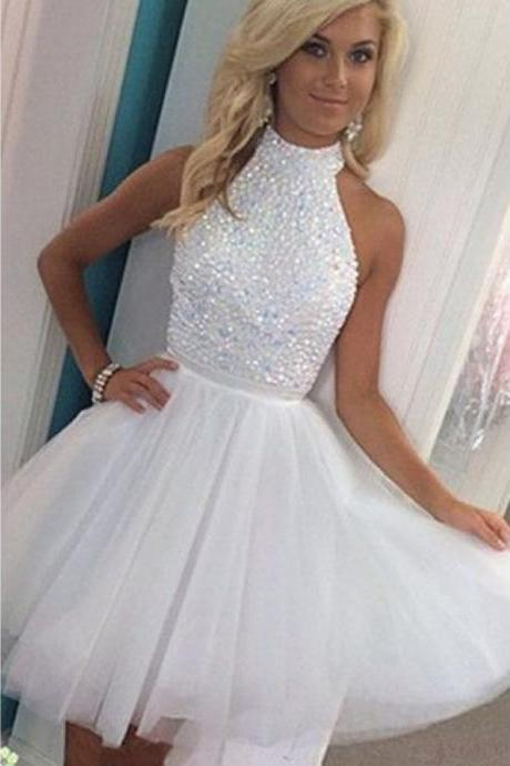 White Homecoming Dresses,Tulle Homecoming Dresses,Beading Homecoming Dresses,White Party Dresses,Open Back Prom Dresses,Graduation Dress,Short Homecoming Dress