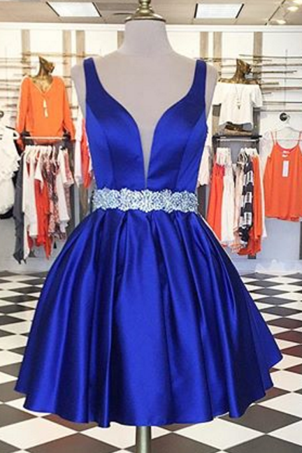 Roral Blue Homecoming Dress,Sexy Homecoming Dresses,A Line Homecoming Dress,Girls Cocktail Dresses,Short Prom Dresses,Beaded Homecoming Dress,2018 Homecoming Dresses