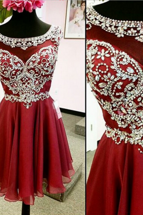 RedHomecoming Dress,Chiffon Homecoming Dresses,A Line Homecoming Dress,Graduationl Dresses,Beading Prom Dresses,Cheap Homecoming Dress,Red Cocktail Party Dresses