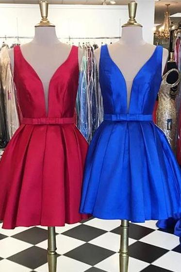 Royal Blue Homecoming Dresses,Cute Homecoming Dress, Fashion Homecoming Dress,Short Prom Dress,Simple Homecoming Gowns, Sweet 16 Dress,V Neck Homecoming Dresses,Sheer Back Prom Dresses