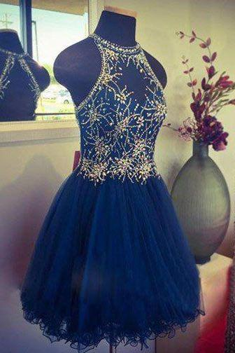 2018 Homecoming Dress,Royal Blue Homecoming Dress,Homecoming Dress,Short Prom Dress,Sweet 16 Dress ,Beading Prom Gown,Tulle Prom Dress