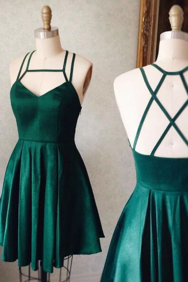 Emerald Green Prom Dresses,Halter Homecoming Dresses,Backless Homecoming Dress,Short Prom Dress,Cute Party Dress,2017 Graduation Dresses,Short Prom Dresses