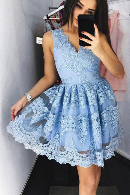 Cute homecoming dresses,blue homecoming dresses,lace homecoming dress,short prom dress,lace prom dresses,a line homecoming dresses,sweet 16 dress