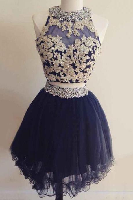 Cute Homecoming Dresses,A-line Prom Dress,Scoop Neck Tulle Homecoming Dressess,Short/Mini Cocktaik Dresses,Beading Homecoming Dresses,Open Back Prom Dress,Two Piece Prom Dresses