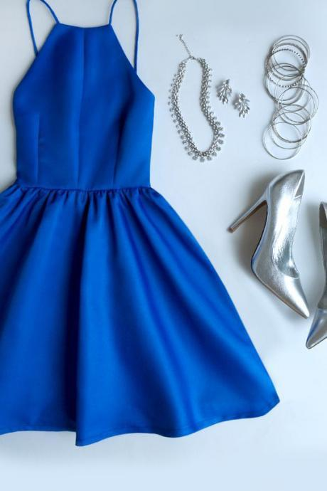 Royal Blue Homecoming Dresses,Backless Prom Dresses,Dark Green Prom Dresses,Satin Prom Gown,Simple Homecoming Gown,Straps Homecoming Dresses