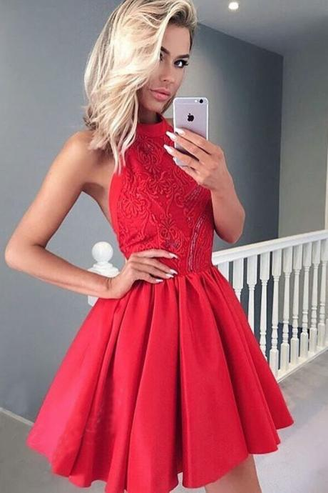 A-Line Homecoming Dresses,Halter Homecoming Dress,Backless Prom Dresses,Red Homecoming Dresses,Satin Homecoming Dress,Short Homecoming Dress with Lace